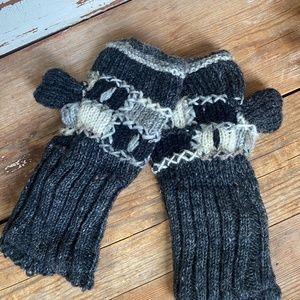 Anthropologie Grey Knit Fingerless Gloves